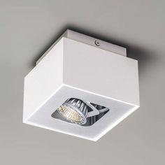 Strahler Box S weiß: Minimalistischer quadratischer Spot mit verstellbarem GU10 Halogenstrahler. Edle Kombination von weißem Strukturlack mit Aluminium. #strahler #innenbeleuchtung #lampen #leuchten
