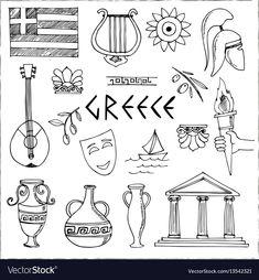 Hand drawn greece travel collection of icons Vector Image Hand drawn greece travel collection of icons Vector Image Bullet Journal Voyage, Greece Drawing, Greece Holiday, Travel Icon, Journal Themes, Travel Illustration, Greek Art, Travel Scrapbook, Greece Travel