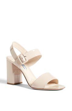 Prada Bicolor Two Strap Block Heel Sandal