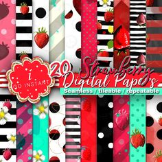 #Strawberry #digitalpapers, #summerfruit, #juicy,summer love, #fabric, colors, #beautiful, #seamless, #stripes, #dots, #polka, red, pink, turquoise