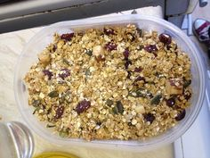 Homemade granola. Tasty and pretty healthy too.  200g oats  30g seeds and nuts 30g dried fruit  100g honey  1 tsp vanilla  1 tbsp sunflower oil  Bake at 170 for 20-25 mins  Under 150 calories per 50g serving :)