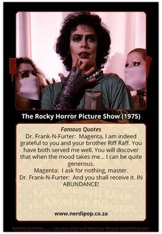 Rocky Horror Picture Show Fun Fact cards - I see you shiver with antici. Tim Curry Rocky Horror, Rocky Horror Show, The Rocky Horror Picture Show, Horror Party, The Frankenstein, Stranger Things Funny, Time Warp, Family Night, American Horror Story