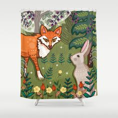 Fox and Hare Shower Curtain by Angie Spurgeon | Society6