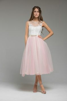 Wedding Dress Ideas, Designers & Inspiration : Maisie wedding dress from Katya Katya Shehurina wedding dresses 2016 – Cute pink tulle wedding dress – see the rest of the collection … Vintage Inspired Wedding Dresses, Alternative Wedding Dresses, 2016 Wedding Dresses, Vintage Bridal, Bridal Outfits, Designer Wedding Dresses, Dresses 2016, Tulle Wedding, Dress Wedding