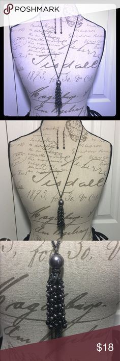 """Black & Hematite Tassel Necklace w/ Earrings Gorgeous beaded tassel necklace w/ earrings.  Measures 30@ w/ 2""""!extender. Earrings drop 2"""". Dress up or down with this sassy set.    #JEWELRY #POSHMARK #BLING #RODEO #FASHIONISTA #COWGIRL #SOUTHWEST #ARIAT #AZTEC #WESTERN #CHIC #FAITH #RUNWAY #CROSS #TRIBAL #BOHO #KENDRA #NAVAJO #STELLA  #SOUTHERN #SPARKLE #CHIC 💞💞 Jewelry Necklaces"""