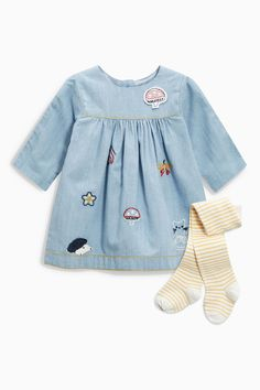 Buy Denim Embroidered Dress And Tights Set (0mths-2yrs) from the Next UK online shop