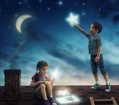 Buy children hung the stars by choreograph on PhotoDune. The children hung the stars in the sky. Boy and girl on the roof cut out stars. Cute Kids Photography, Couple Photography Poses, Photography Backdrops, Look At The Stars, Stars And Moon, Cute Baby Couple, Love Illustration, Foto Pose, Perfect World
