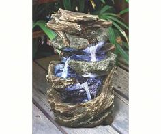 Design Toscano Glacier Peak Cascading Garden Resin Tiered Fountain Delivery is Rock Fountain, Tabletop Water Fountain, Waterfall Fountain, Indoor Fountain, Patio Fountain, Fiberglass Resin, Garden Fountains, Outdoor Fountains, Aging Wood