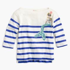 A stripey T-shirt, plus a sequin mermaid that's almost as cool as her. Cotton. Three-quarter sleeves. Machine wash. Import.