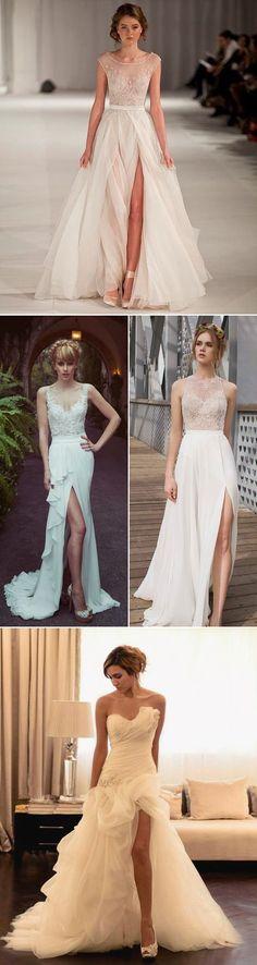 Wedding Dresses 2016 Trends: High Slit Bridal Gowns !   http://www.deerpearlflowers.com/wedding-dresses-2016-trends-high-slit-bridal-gowns/