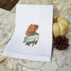 Thanksgiving Towel, Harvest, Fall, Autumn, Mums, Vintage Towel, Fall Decor, Hostess Gift