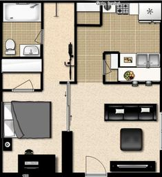 Dream studio apt set-up; having separate sleeping and entertaining spaces would be great!