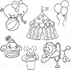 Circus illustration in black and white royalty-free stock vector art