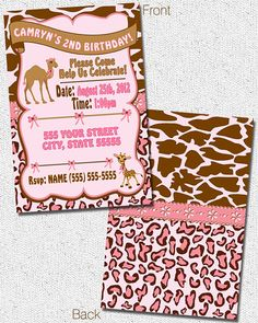 Animals Birthday Party Invitation  Digital File  by by MetroEvents, $6.98
