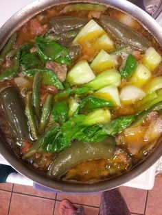 Beef sinigang soup.