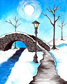 Snowy Walk Canvas. Beginner painting idea with tree silhouettes and stone bridge.
