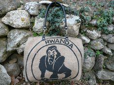 Sac cabas en toile de jute // Sac de café // sac de plage // sac fourre tout // Rwanda