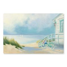 Soak in the unfiltered views of a deserted beach morning. Our Morning Ride to the Beach Canvas Art Print paints with a myriad of nautical blue hues. Beach Canvas Art, Beach Art, Canvas Art Prints, Nantucket Beach, Beach Illustration, Tropical Art, Am Meer, Wall Art Decor, Watercolor Art