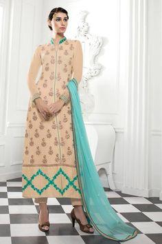 Eye-Catchy Georgette Cream Color Designer Salwar Kameez
