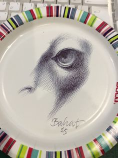 """""""Question."""" Ballpoint on Paperplate"""