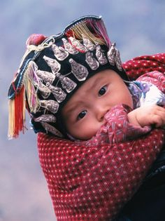 Miao Baby Wearing Traditional Hat, China