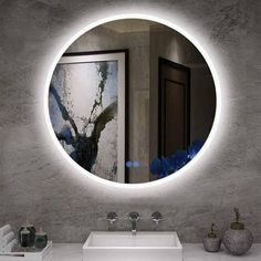 Buy LStripM Bathroom LED Lighting Mirror With Anti-fog Function Wall Mounted Backlit Thickness Round Dimmable Touch Button White)Makeup Vanity Mirror Over Cosmetic Bathroom Sink Backlit Bathroom Mirror, Shower Mirror, Ikea Mirror, Light Bathroom, Modern Bathroom, Small Bathroom, Master Bathroom, White Makeup Vanity, Makeup Vanity Mirror
