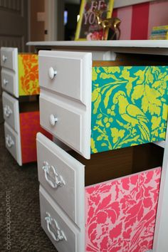 Stencil Surprise! Pop of fun color on the inside drawers of a desk - Flower Stencils and Chalk Paint