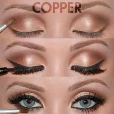 how to: copper eye makeup for blue eyes