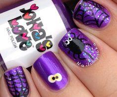 Purple & Black Halloween Nails