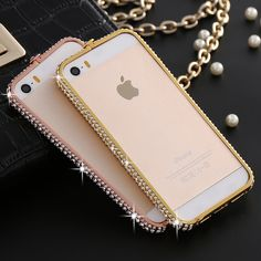 5S SE Fashion Women Crystal Diamond Aluminum Frame Case For iPhone 5 5S For iPhone SE i6 6S Luxury Metal Phone Accessories Cover
