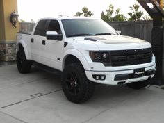 White Raptor with HRE's and Brembo's. Wouldn't mind owning one of these... #Rvinyl's got the #Brembo look for a fraction of the cost.