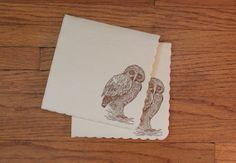 Vintage Owl Print Paper Napkins  25 count by Ofancientrace on Etsy, $10.00