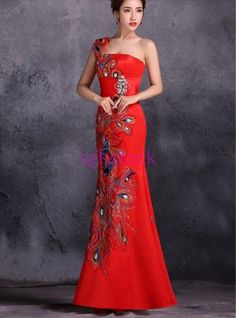 a1547738351c QIPAO Women s Embroidery fishtail dress one shoulder evening Party PROM  dress US. Vestito A Spina Di ...