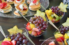 Beautiful fruit salads for a Spa Bridal Shower. Gorgeous and in keeping with the