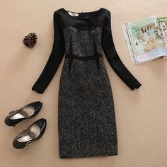 Fashion Contrast Color Long Sleeve Round Neck Woolen Dress