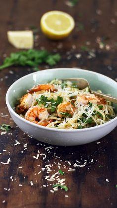 Seaside Spaghetti with Lemony Prawns. YUM!