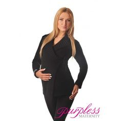 Wrap Over Cardigan Pregnancy Nursing 9002 Black Elegant and Warm Maternity Wrap Over Cardigan is ideal throughout your pregnancy and beyond. Built in inside and outside knitted drawstring ties allow to adjust the fit around your growing baby bump. Our Purpless maternity cardigan makes a useful cover-up after the birth making breastfeeding experience discrete and comfortable.