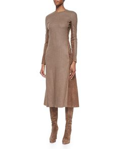 W06KZ Ralph Lauren Collection Long-Sleeve Suede Paneled Midi Dress