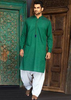 green kurta with white pyjama