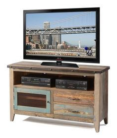 """Solid Pine Rustic 52"""" TV Stand in Multi-colord Finish"""