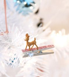 DIY Adorned Glittered Clothespin Gift Toppers - as ornament