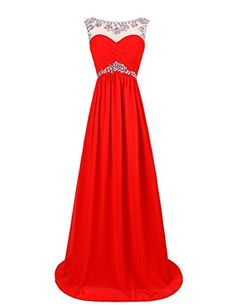 Dresstells Long Prom Dresses 2017 Scoop Chiffon Evening Party Dress with Beads Red Size 2