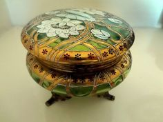 Antique Enamel Gilt Glass Lidded Art Nouveau Trinket Box Jewellery Powder Box | eBay