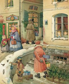 Christmas In The Town Canvas Print by Kestutis Kasparavicius Kęstutis Kasparavičius is a Lithuanian author and book illustrator of over 60 children's books. Christmas Quotes, Christmas Pictures, Christmas Ideas, Christmas Cards, Christmas Decorations, Burlap Monogram, Snow Holidays, Thing 1, Christmas Wallpaper