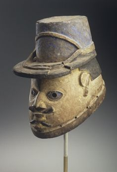 Gelede Mask of a French Gendarme. Unidentified Yoruba artist, late 19th or early 20th century. Benin.