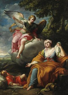 The Angel With Hagar And Ishmael Placido Costanzi