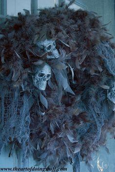 Halloween wreath tutorial - with styrofoam, black feather, gauze, and skulls.