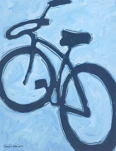 Let's Ride! Blue Bicycle Original Painting