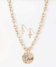 Look at this #zulilyfind! Gold Cross 'Faith' Chain Pendant Necklace & Earrings by Accessories West Imports #zulilyfinds