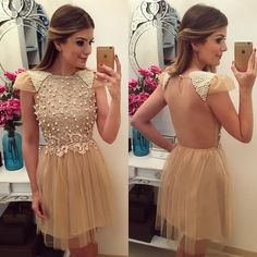 Newest Lace Appliques 2016 Short Cap Sleeve Tulle Prom with Beaded Pearls robe de Summer Dresses Cocktail Dress Champagne Homecoming Dresses, Homecoming Dresses 2017, Cute Prom Dresses, Prom Dress Stores, Sweet 16 Dresses, Beautiful Prom Dresses, Bridal Dresses, Short Dresses, Summer Dresses